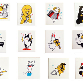 動物の楽団スタンプ|坂本の絵のはんこ